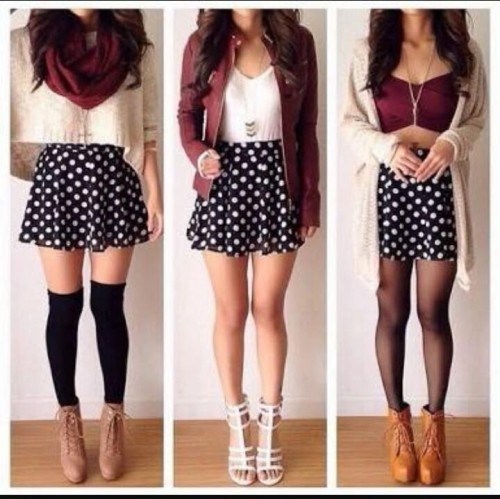 I am looking for the same outfit. with a skater skirt, and infinity scarf and a crop top. - SeenIt