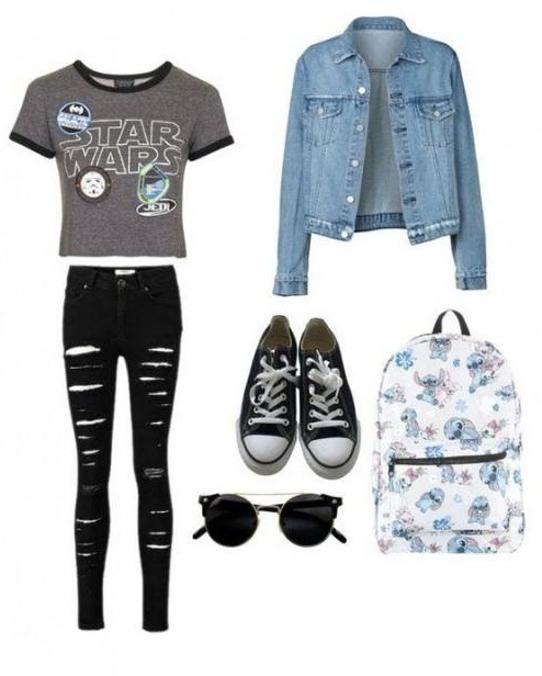 Want the blue denim shirt, grey tar wars tshirt, black ripped jeans, black converse and sunglasses and the printed backpack - SeenIt
