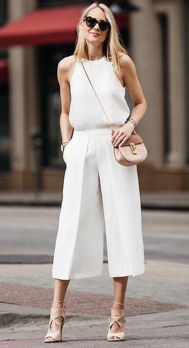 Help me find a similar white sleeveless top and culottes. - SeenIt