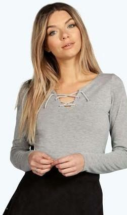 looking for similar grey lace up top. please help me find it! - SeenIt