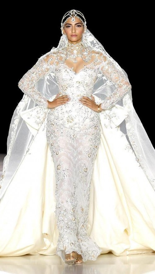 Yay or Nay? Sonam Kapoor in a white Ralph & Russo showstopper bridal gown during the Paris Couture Week - SeenIt