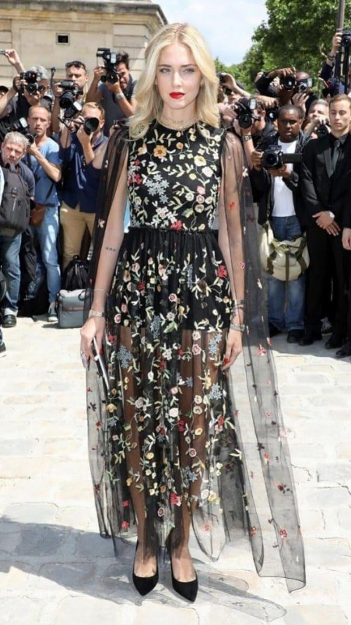 Yay or Nay? Chiara Ferragni spotted wearing a black floral embroidered long cape dress at the Dior Haute Couture show during the Paris Couture Week 2017 - SeenIt