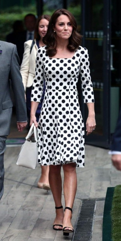 Yay or Nay? Duchess of Cambridge Kate Middleton arrived at the Wimbledon wearing a silk polka dot Dolce & Gabbana dress and block heels - SeenIt