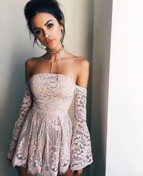 Want this pink lace off-shoulder dress - SeenIt