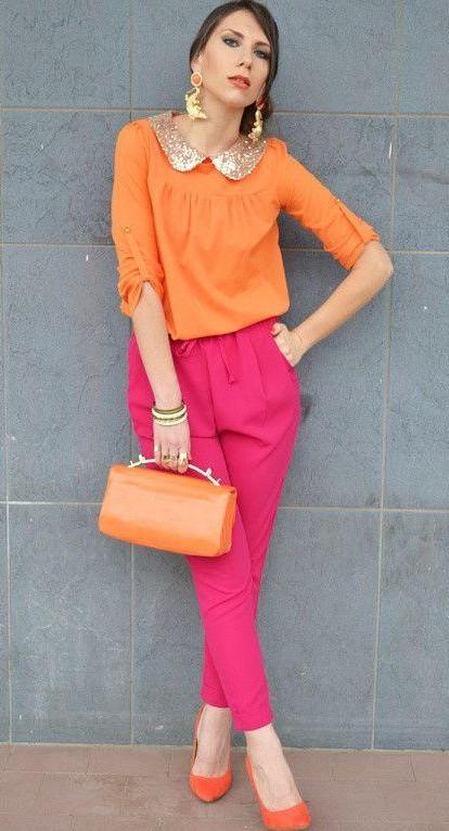 Looking for similar orange collared top, fuchsia pink pants, orange heels and orange clutch - SeenIt