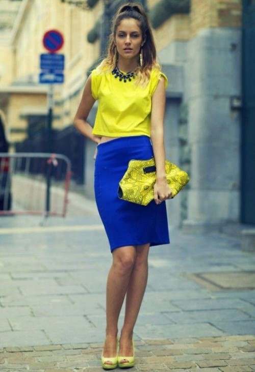 Looking for a similar electric blue pencil skirt, yellow croptop, yellow clutch and heels - SeenIt
