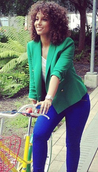 Looking for a similar green blazer and electric blue pants - SeenIt