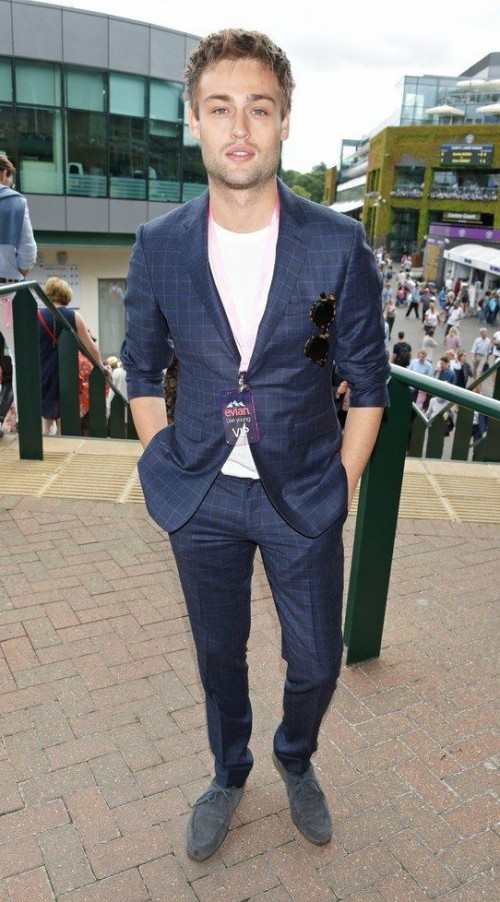 Yay or Nay? Douglas Booth wearing a plaid blue suit on day 1 of Wimbledon - SeenIt