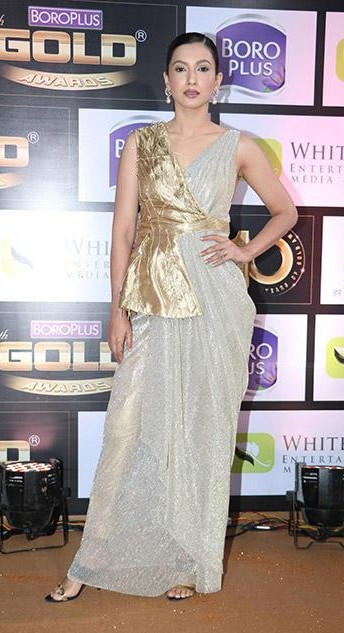 Yay or Nay? Gauhar Khan wearing a drape saree outfit at the Zee Gold Awards red carpet last night - SeenIt