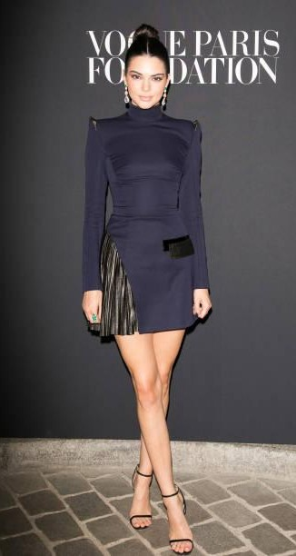 Yay or Nay? Kendall Jenner wearing a navy blue dress at the Vogue Foundation dinner party during Paris fashion week - SeenIt