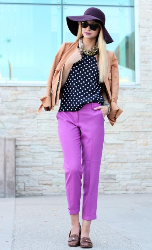 Looking for a similar black polka dotted sleeveless top, purple pants, purple hat - SeenIt