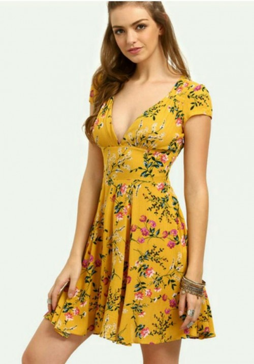 I am looking for a deep V-neck skater dress with short sleeves in solid colors - SeenIt