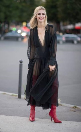 Yay or Nay? Chiara Ferragni spotted on the streets of Paris in a black mesh dress and red pointed boots after the Fendi show during the Paris haute couture week - SeenIt