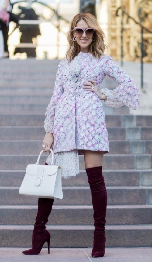 Yay or Nay? Celine Dion wearing a floral frogged mini length dress with boots at the Giambattista Valli show during Paris haute couture week - SeenIt