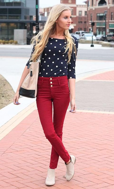 Looking for  a similar maroon jeans ans black polka dotted top - SeenIt