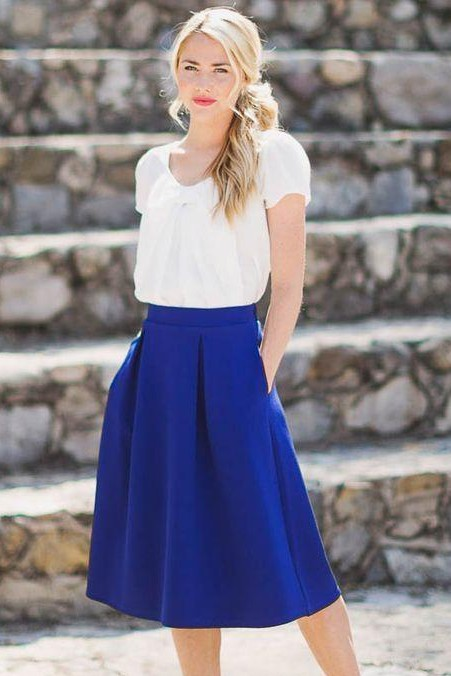 dc9d1ac08 Looking for a similar white top with a blue skirt - SeenIt
