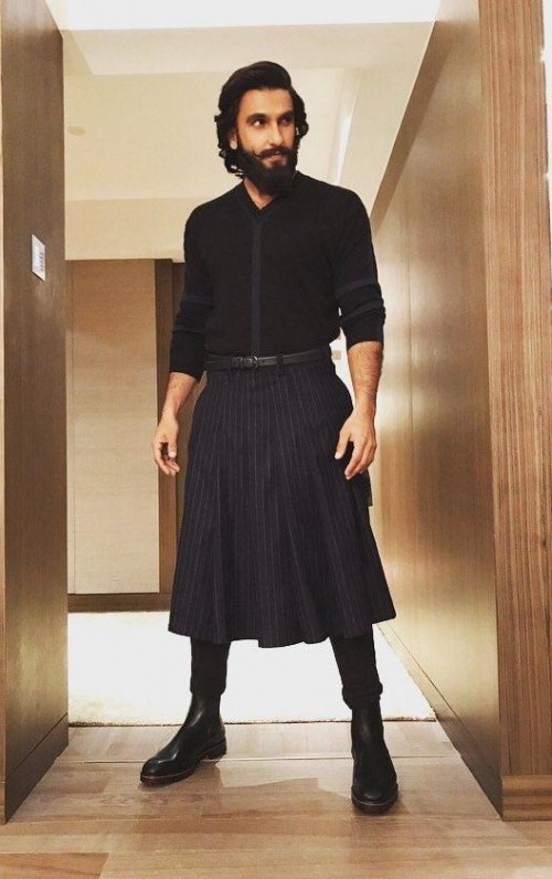 Yay or Nay? Ranveer Singh at his quirky best spotted wearing a Rajesh Pratap Singh Kilt and trouser outfit at the GQ Power List event last night - SeenIt