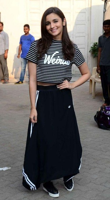 54c63df563 Looking for this weirdo striped crop top and maxi skirt from Adidas which  Alia is wearing