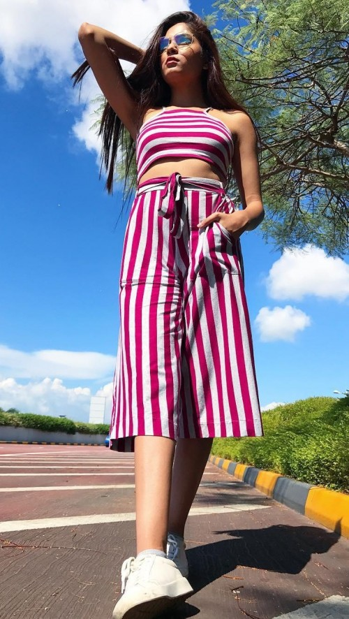 Looking for this pink and grey striped coords..crop top and culottes that mehakghai is wearing. - SeenIt