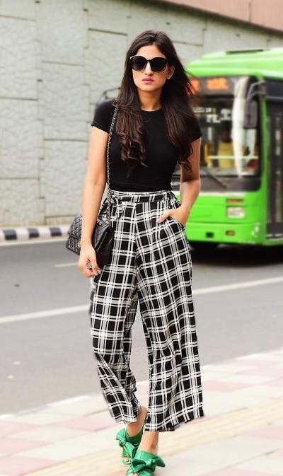 I am looking for this similar black plaid culottes and top as seen on Karishma Yadav. - SeenIt