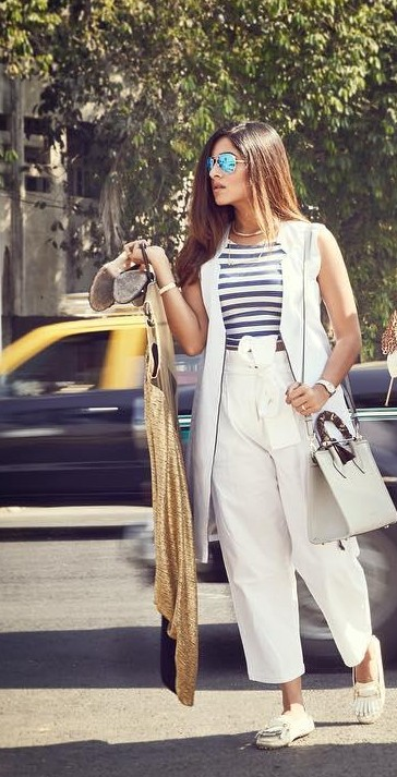 I am looking for a similar striped top white trouser and jacket as seen on house of misu, help me? - SeenIt