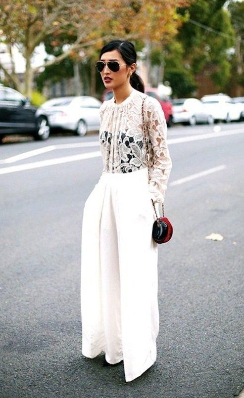 Want the white lace top and the white trousers which she's wearing - SeenIt