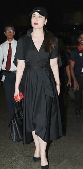 Looking for a similar black wrap dress that Kareena Kapoor Khan is wearing - SeenIt