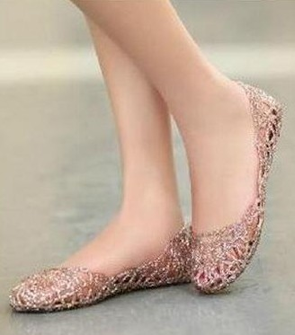 I am looking for this cutout metallic rosegold jelly belly shoes - SeenIt
