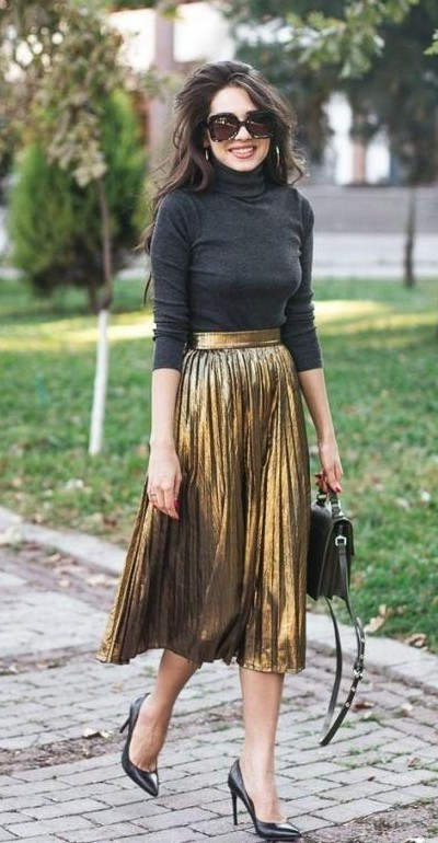 I am looking for a similar copper pleated metallic skirt with black crop top, help me - SeenIt