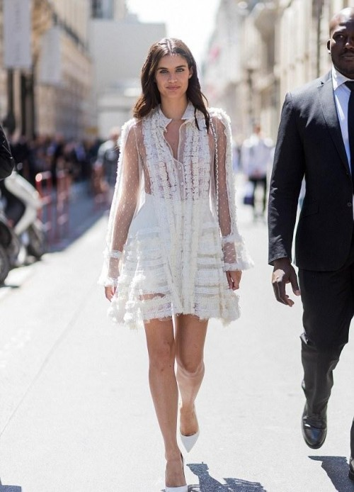 I'm looking for similar white dress which Sara Sampaio is wearing - SeenIt