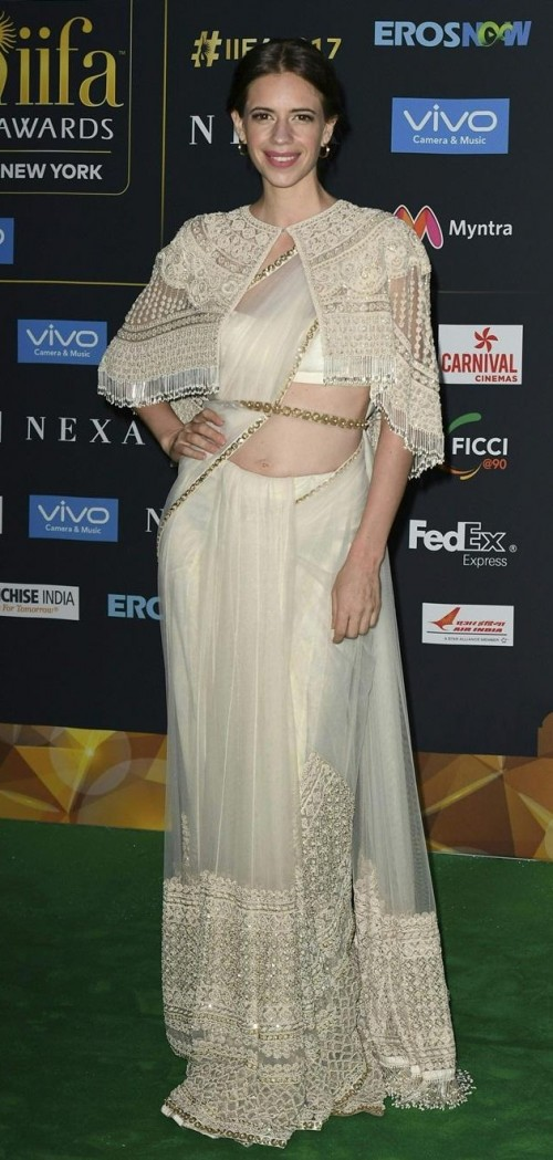 Yay or Nay? Kalki Koechlin wearing a cream colored Sabyasachi saree with cape at the Green carpet during the IIFA weekend - SeenIt