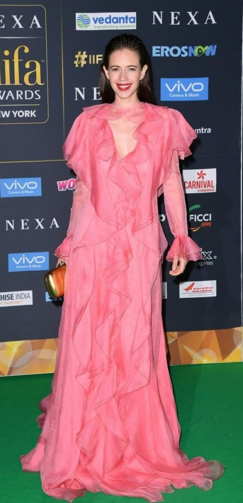 Yay or Nay? Kalki Koechlin wearing a pink ruffle Gucci gown at the IIFA night in New York - SeenIt