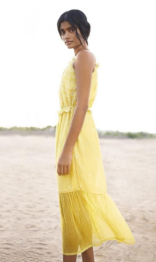 Help me find this yellow embroidered mid dress. - SeenIt