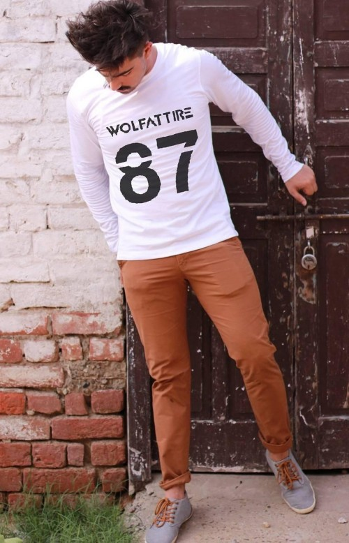 Looking for this white full sleeves tshirt and khaki chinos online. - SeenIt