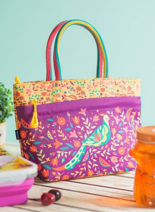 Looking for this purple bird printed lunch bag. - SeenIt