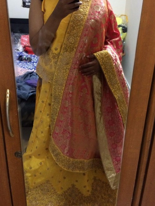 yay nay this yellow and pink lehenga? - SeenIt