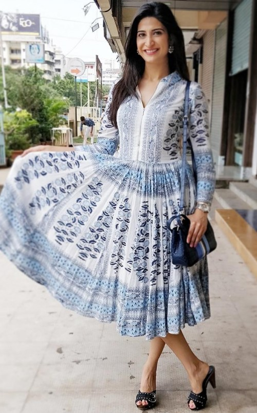 Help me find this blue and white floral printed midi shirt dress that Aahana Kumra is wearing. - SeenIt