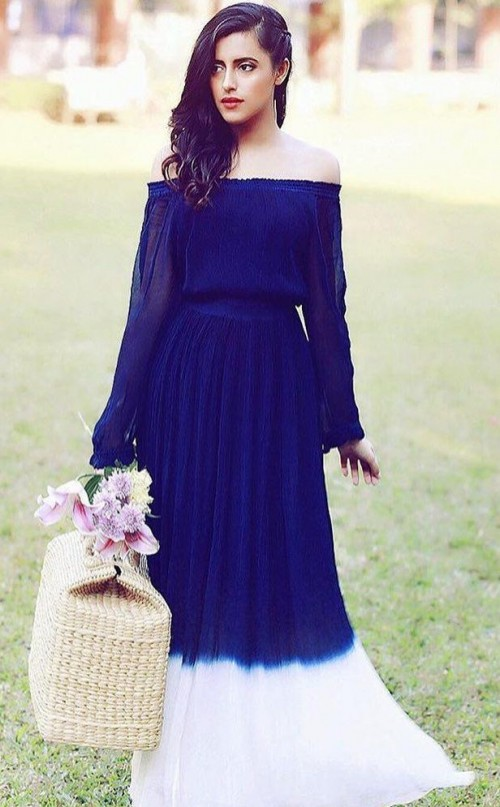 Can you help me find this blue and white ombre off shoulder maxi dress? - SeenIt