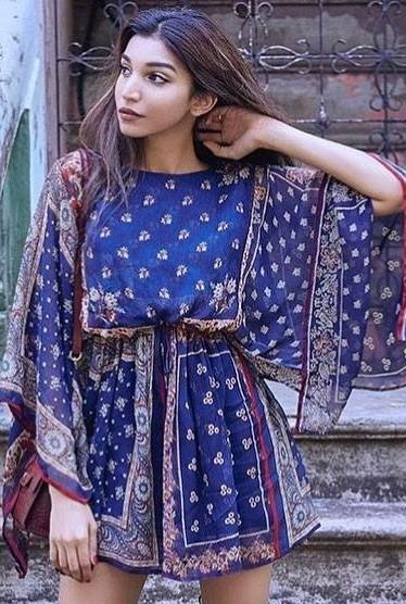 Need this navy blue floral printed kaftan short dress that Juhi Godambe is wearing. - SeenIt