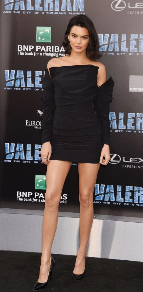 Yay or Nay? Kendall Jenner wearing a short black dress at the Valerian movie premiere - SeenIt