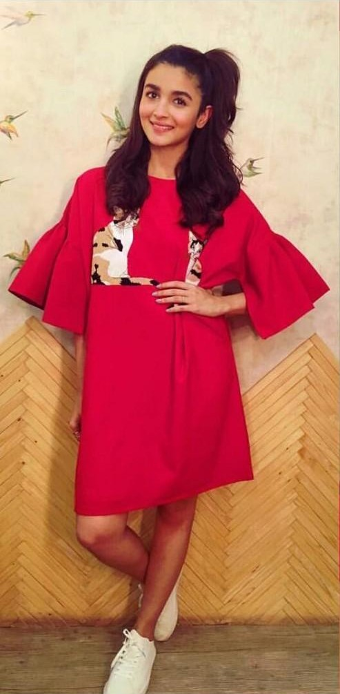 Looiing for this adorable pinkish-red bell sleeved dress which Alia is wearing.The SAME dress with the cat print . Domestic sites.Same length and colour.TIA. - SeenIt