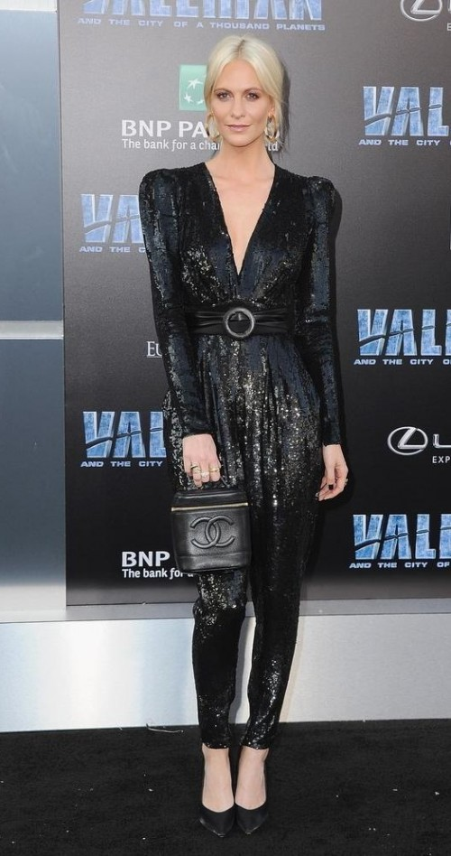 Yay or Nay? Poppy Delevingne wearing a shimmer plunging neck jumpsuit at the Valerian movie premiere held on monday night - SeenIt