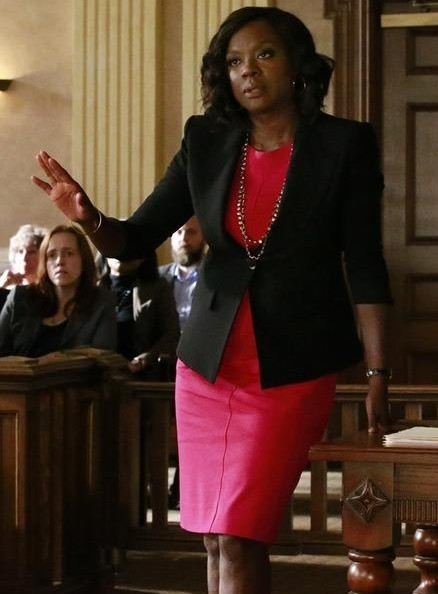 looking for a similar red bodycon dress and black blazer that annalise is wearing - SeenIt