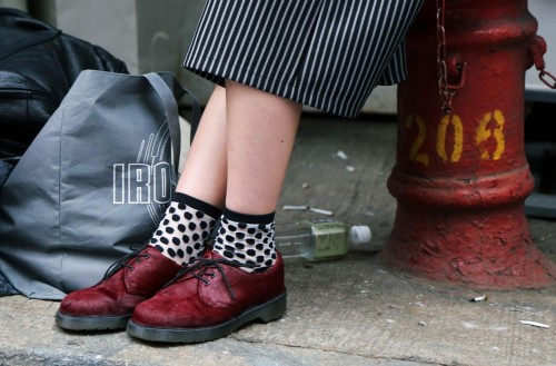 Where can i find the maroon shoes and the white and black printed socks - SeenIt