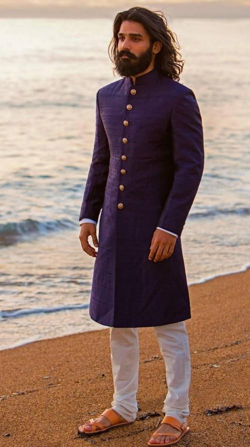 Help me find a siimilar navy blue sherwani. - SeenIt