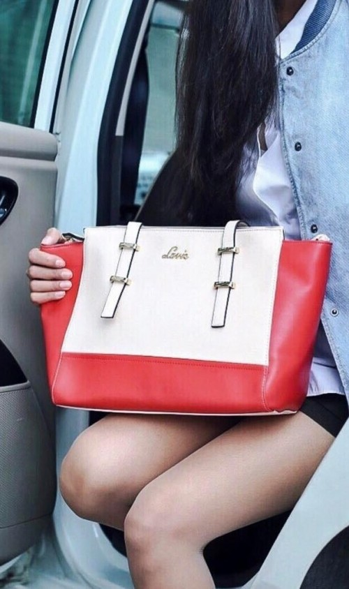 Help me find this red and beige hand bag. - SeenIt