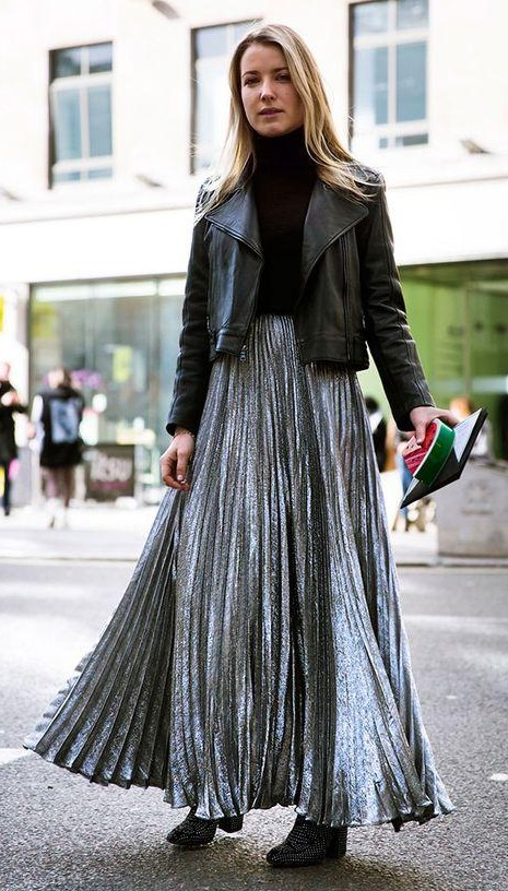 Help me find a similar silver pleated maxi skirt. - SeenIt