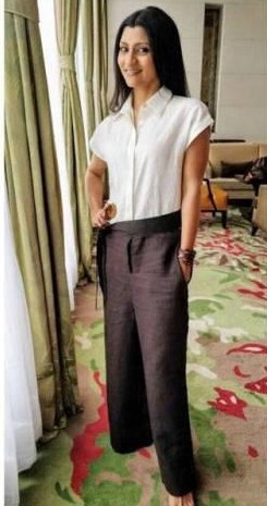 Help me find a similar shirt and pair of linen pants that Konkana Sen Sharma is wearing at Lipstick under my Burkha promotions - SeenIt
