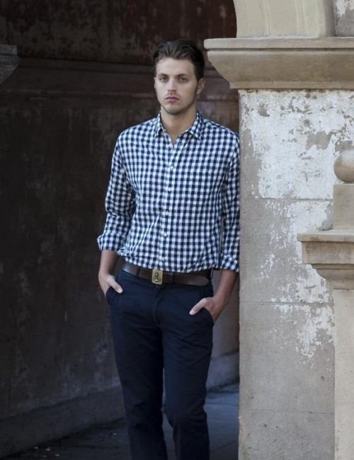 I am looking for a similar blue gingham shirt with navy blue pants, help me - SeenIt