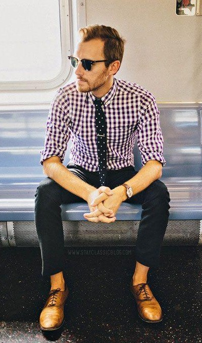 I am looking for similar gingham print shirt, black polka-dot tie, black pants and tan oxfords, help? - SeenIt